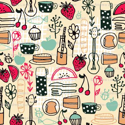 picnic // summer picnic fabric andrea lauren design food sandwiches fabric