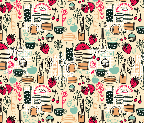 picnic // summer picnic fabric andrea lauren design food sandwiches fabric fabric by andrea_lauren on Spoonflower - custom fabric