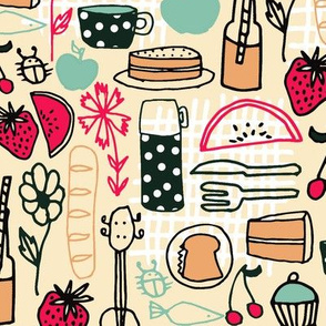 picnic // summer picnic fabric andrea lauren design food sandwiches fabric