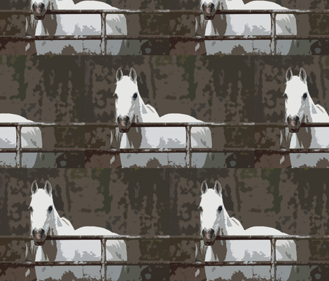 white horse fabric by back2basics on Spoonflower - custom fabric
