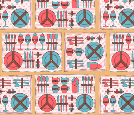 picnic set fabric by maeli on Spoonflower - custom fabric