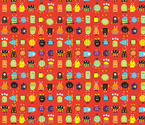 MUN-wmb_Monster_grid_rd fabric by wendybentley on Spoonflower - custom fabric