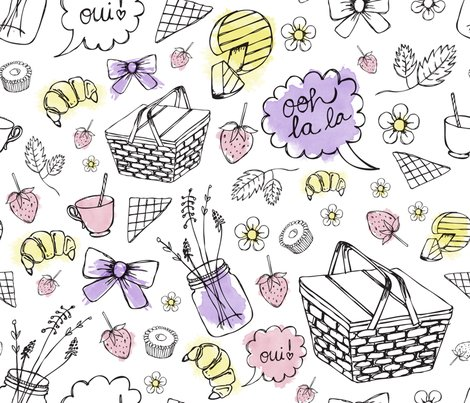 fancy frenchy picnic fabric swankirsty spoonflower. Black Bedroom Furniture Sets. Home Design Ideas