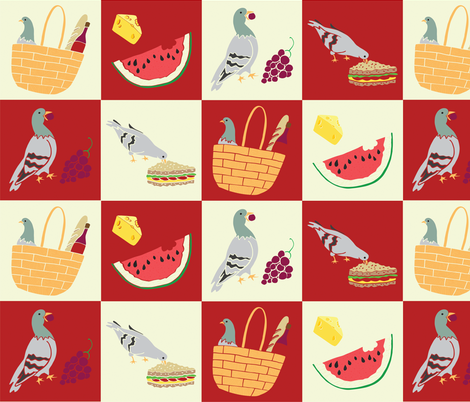 Pigeon Picnic fabric by phindijo on Spoonflower - custom fabric