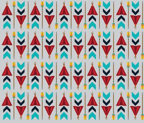 The Teepees - Gray fabric by oliveandruby on Spoonflower - custom fabric