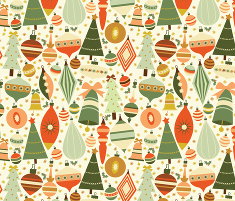 Christmas Baubles in Green fabric by oliveandruby on Spoonflower - custom fabric