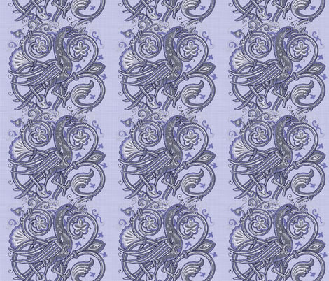 Celtic Bird ~ Blue Linen fabric by peacoquettedesigns on Spoonflower - custom fabric