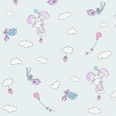 Bessies Blue Balloon fabric by uzumakijo on Spoonflower - custom fabric