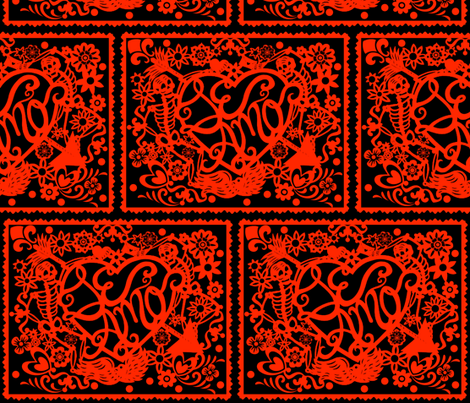 Day Of The Dead papel picado red fabric by whimzwhirled on Spoonflower - custom fabric