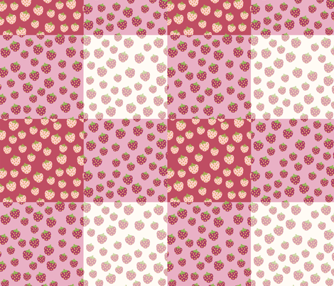gingham strawberry picnic rug fabric by owls on Spoonflower - custom fabric