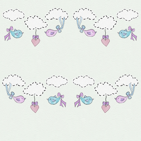 Bessies Blue Balloon - birds blue fabric by uzumakijo on Spoonflower - custom fabric