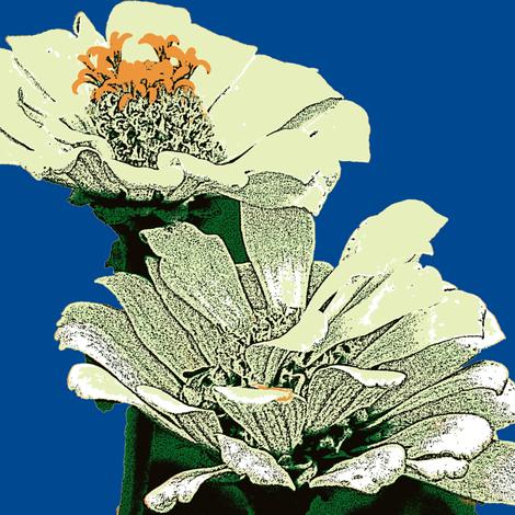 zinnias, cream-ed fabric by katiemadeit on Spoonflower - custom fabric