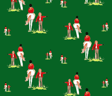 Riding Lessons on equestrian green fabric by karenharveycox on Spoonflower - custom fabric