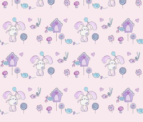 Bessie Bunny - pink garden fabric by uzumakijo on Spoonflower - custom fabric