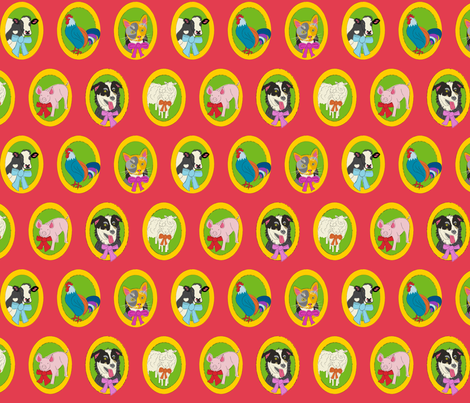 Leyden Glen Farm Animal Portraits fabric by kristin_nicholas on Spoonflower - custom fabric