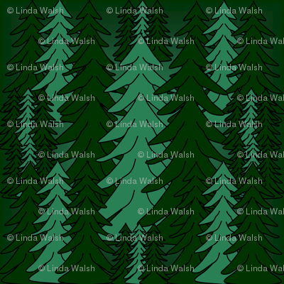 Evergreen Winter Trees2  Fabric