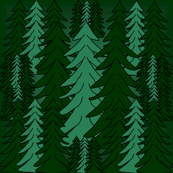 Evergreen Winter Trees2  Fabric