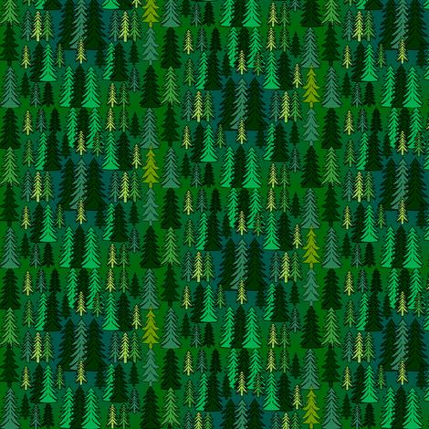 Evergreen Woodland Trees Fabric fabric by lworiginals on Spoonflower - custom fabric