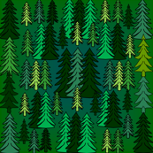 Evergreen Woodland Trees Fabric