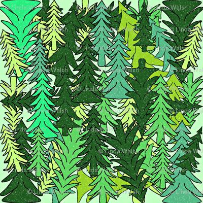 Evergreen Woodland Trees Fabric