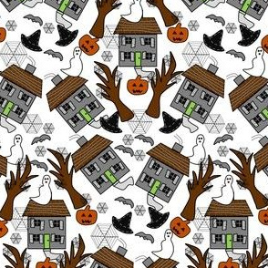 Halloween  Haunted House,  Hats, Spiders, Spider Webs, Bats and Jack O Lantern  Fabric