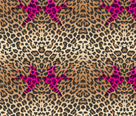 Sparrows and leopard fabric by s_rose_creations on Spoonflower - custom fabric