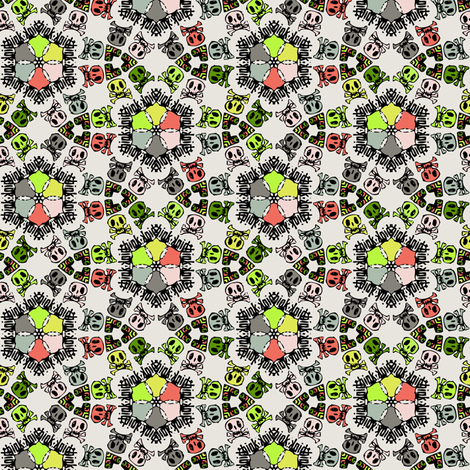 skulls geometric txt small size fabric by susiprint on Spoonflower - custom fabric
