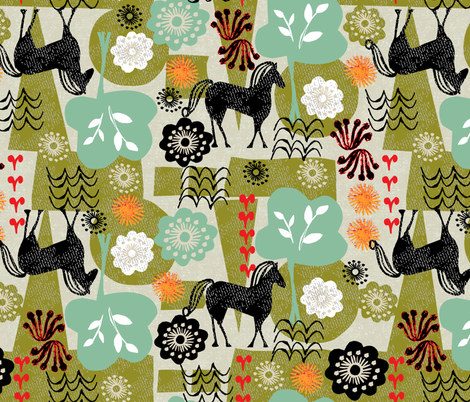 magical horse garden fabric by ottomanbrim on Spoonflower - custom fabric