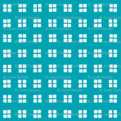 block print turquoise and white