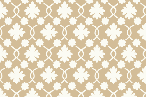 Bisque Floral Trellis fabric by willowlanetextiles on Spoonflower - custom fabric