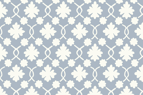 Summer Sky Blue Floral Trellis fabric by willowlanetextiles on Spoonflower - custom fabric
