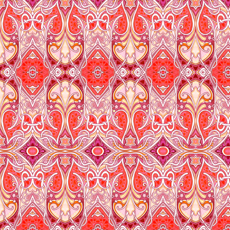 Red Paisley Nouveau  fabric by edsel2084 on Spoonflower - custom fabric