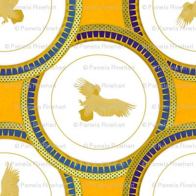 blue eagle plate on gold