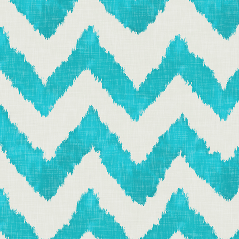 Aquamarine and Linen Ikat Watercolor Chevron fabric by willowlanetextiles on Spoonflower - custom fabric