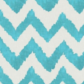 Aquamarine and Linen Ikat Watercolor Chevron
