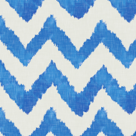 Pool and Linen Watercolor Ikat Chevron fabric by willowlanetextiles on Spoonflower - custom fabric