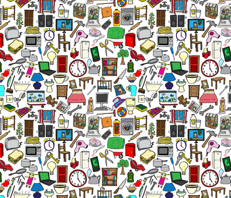 Household items pattern fabric antonybriggs spoonflower for Household design items