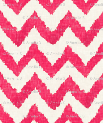 Raspberry on Linen Ikat Watercolor Chevron