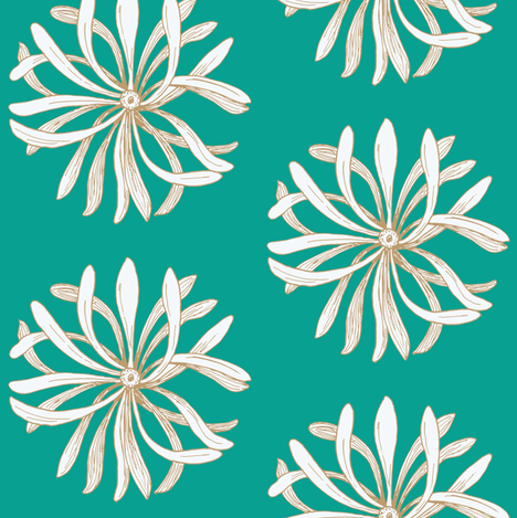 chrys_on_turquoise fabric by dw77 on Spoonflower - custom fabric