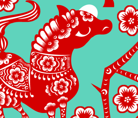 Year of the Horse - Red on Turquoise