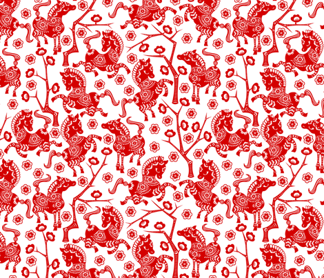 Year of the Horse - Red on White fabric by thirdhalfstudios on Spoonflower - custom fabric