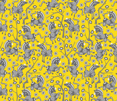 Year of the Horse - Gray on Gold fabric by thirdhalfstudios on Spoonflower - custom fabric