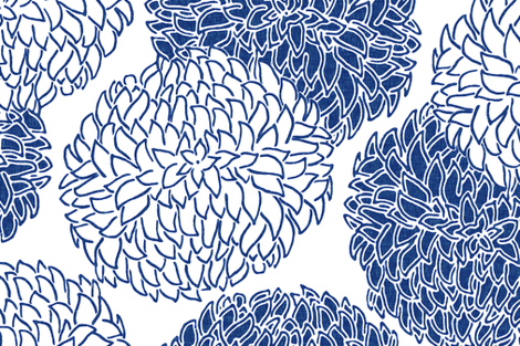 Modern Posy in Blue fabric by willowlanetextiles on Spoonflower - custom fabric