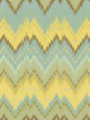 Ikat Chevron in Yellow, Blue and Aqua