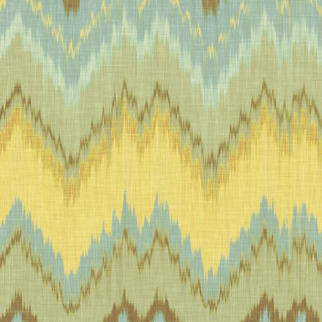 Ikat Chevron in Yellow, Blue and Aqua fabric by willowlanetextiles on Spoonflower - custom fabric