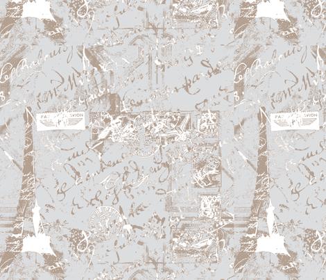 Parisian French script on gray fabric by karenharveycox on Spoonflower - custom fabric