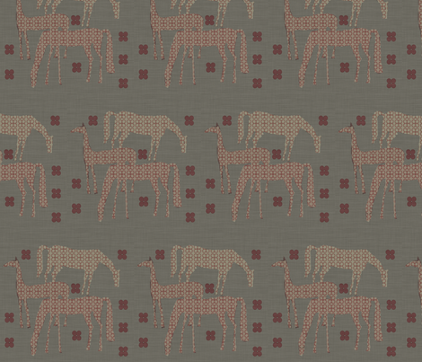 Horses in a field linen fabric by feltnlove on Spoonflower - custom fabric
