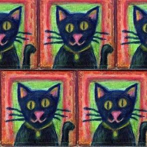 Black Cat on Canvas
