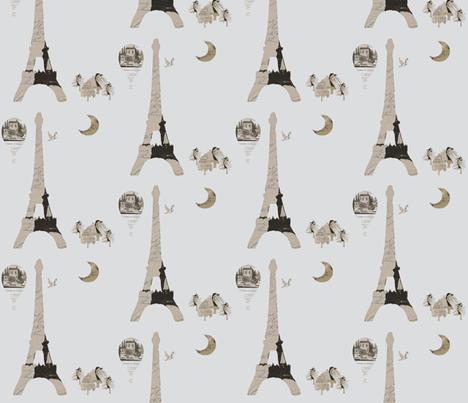 Eiffel Tower Gray fabric by karenharveycox on Spoonflower - custom fabric