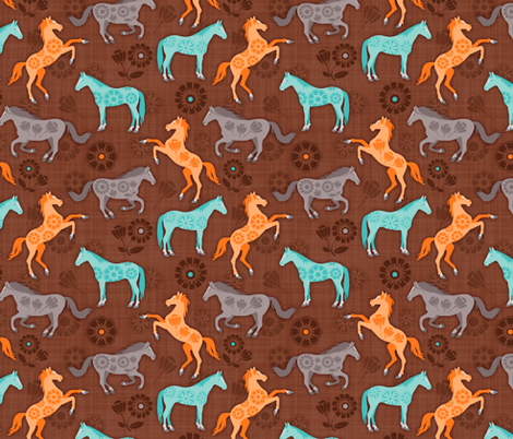 Floral Fillies - Brown fabric by run_quiltgirl_run on Spoonflower - custom fabric